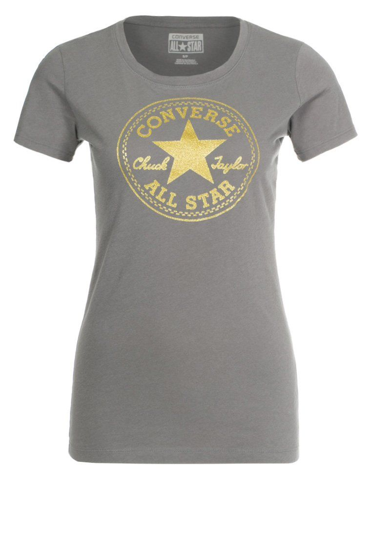 4e17c19aab67 Womens Converse clothing T-Shirt print charcoal grey converse on sale
