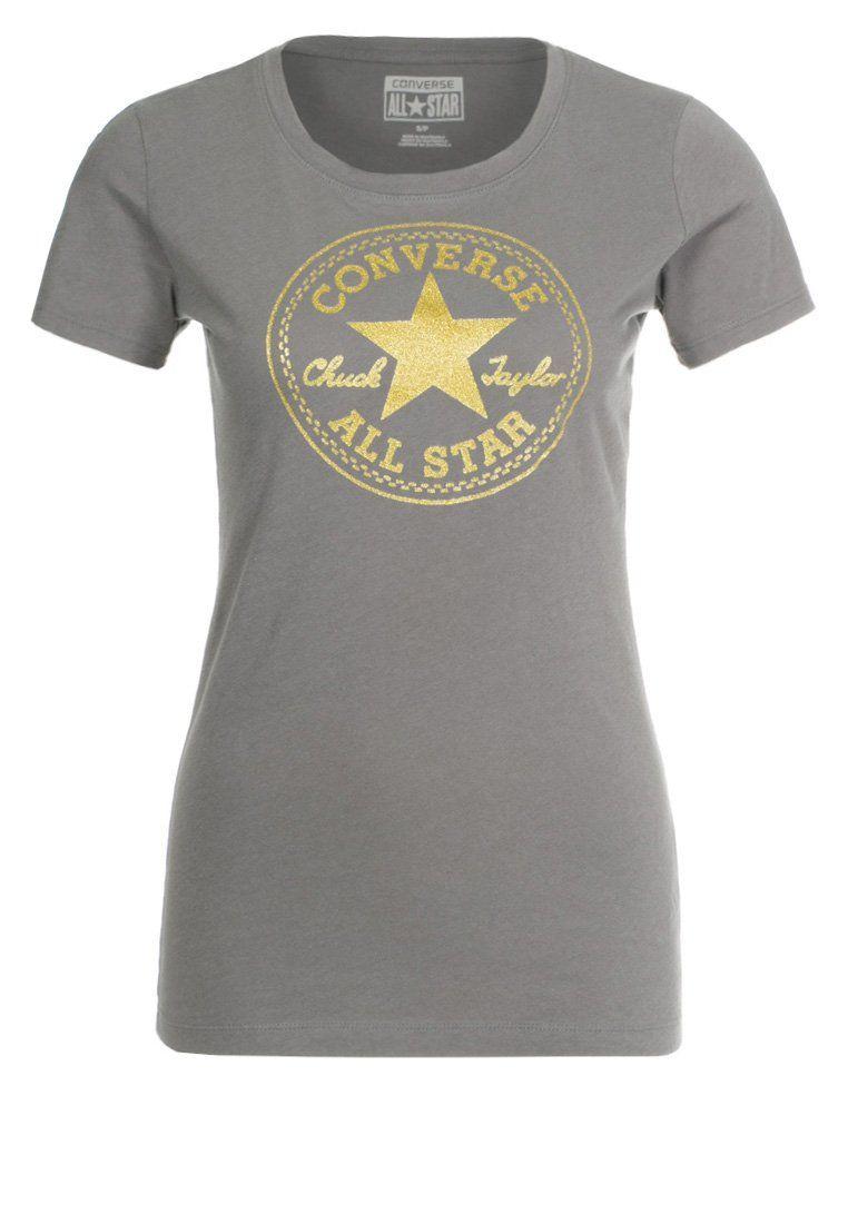 d88f3e2b0734 Womens Converse clothing T-Shirt print charcoal grey converse on sale