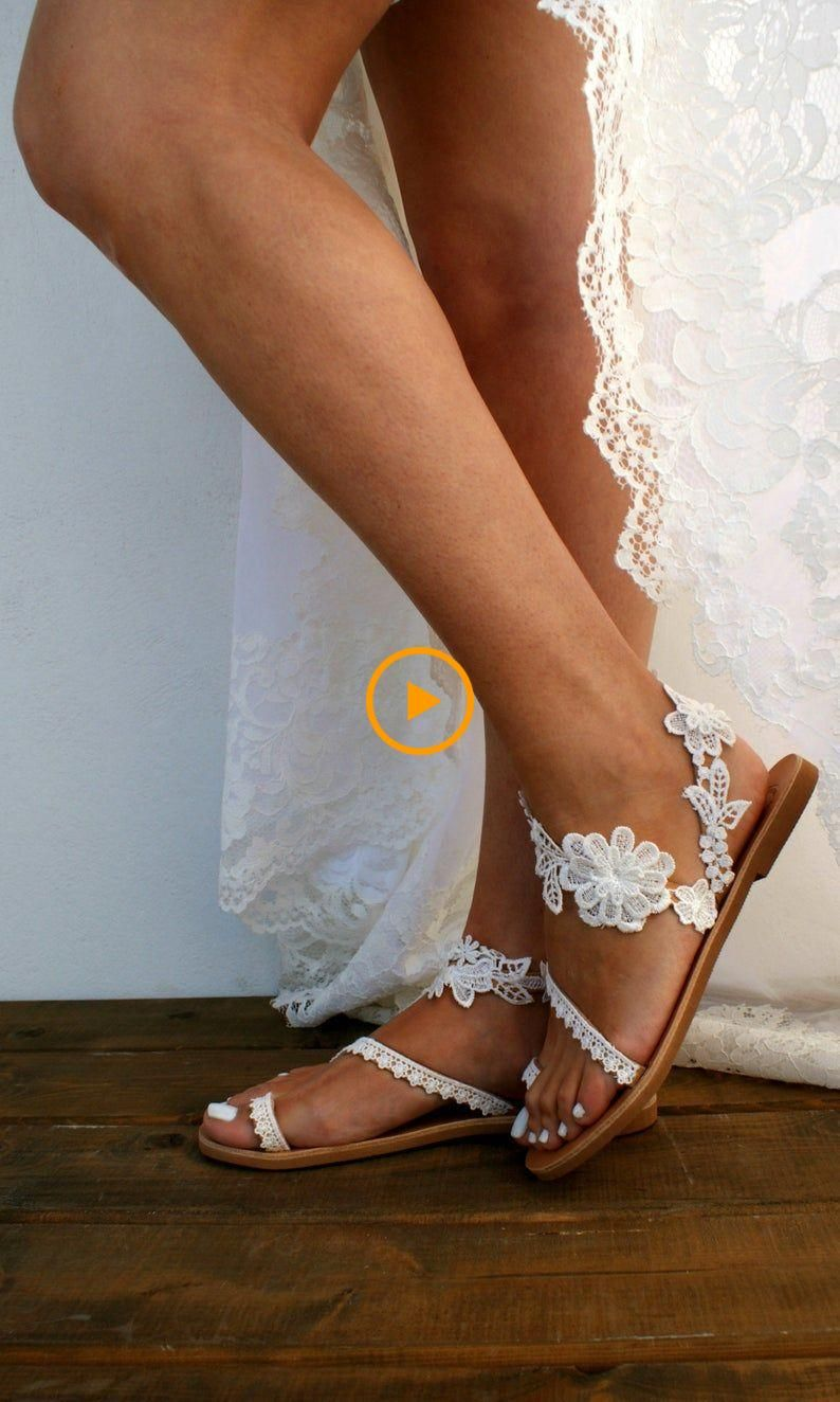 Scarpe Sposa The Woman In White.Handmade To Order Lace Sandals Bridal Sandal Wedding Shoes Off