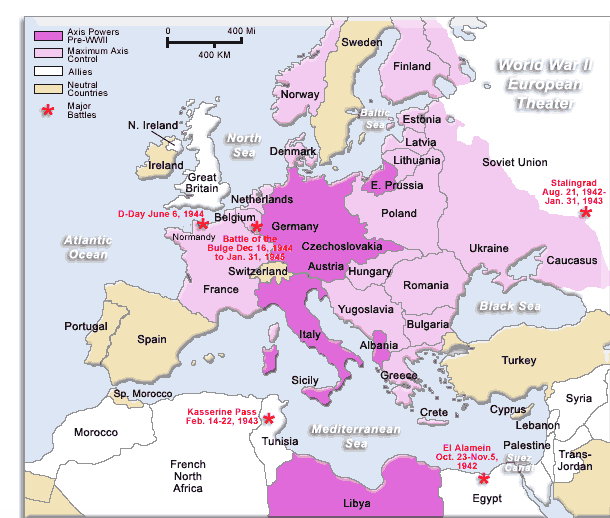 This map shows the Axis powers controlled land, vs. where the ...