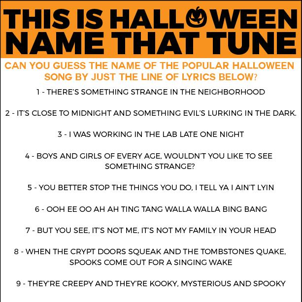Free Printable Halloween Name That Tune Game | Halloween music ...