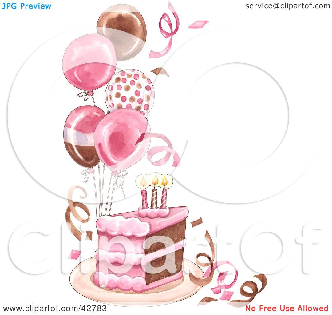 Clipart Illustration Of A Slice Of Birthday Cake With Balloons And