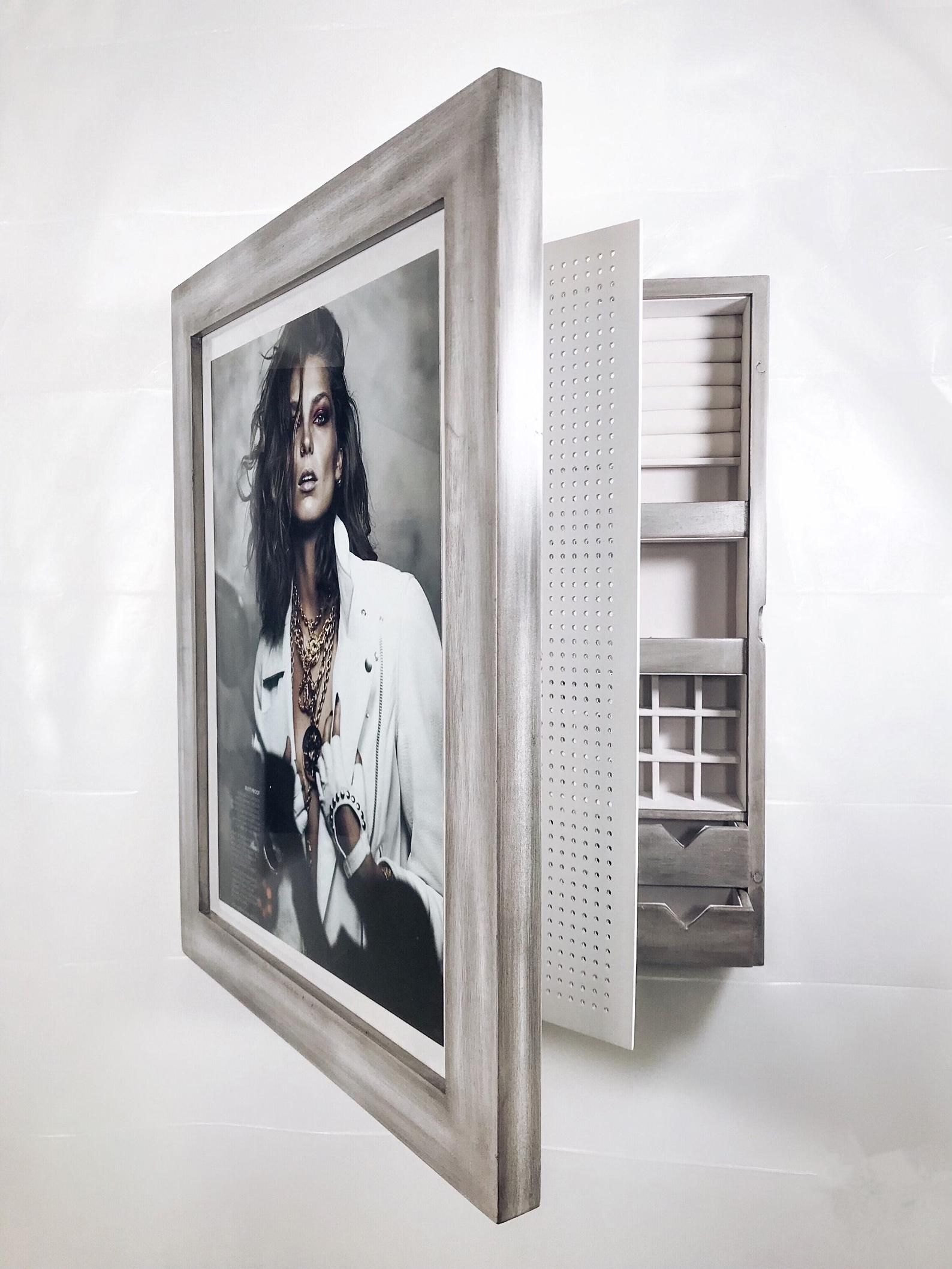 Distressed Gray Picture Frame Wall Mounted Jewelry Etsy Frames On Wall Picture Frame Wall Wall Mount Jewelry Organizer
