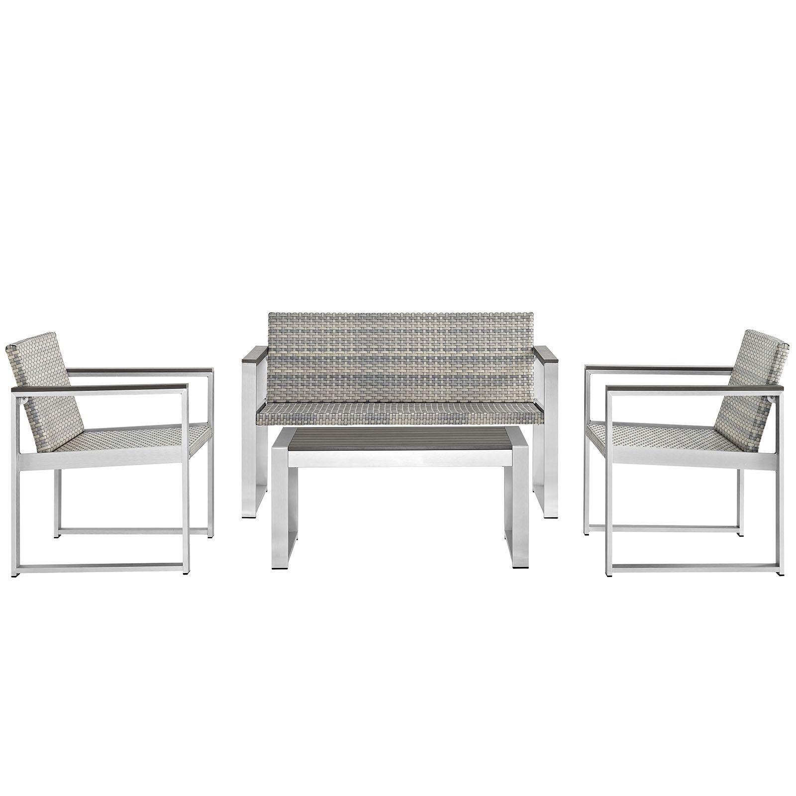 Modway Embark Outdoor Patio 4-Piece Conversation Set (Silver Chocolate (Brown)), Size 4-Piece Sets, Patio Furniture (Aluminum)