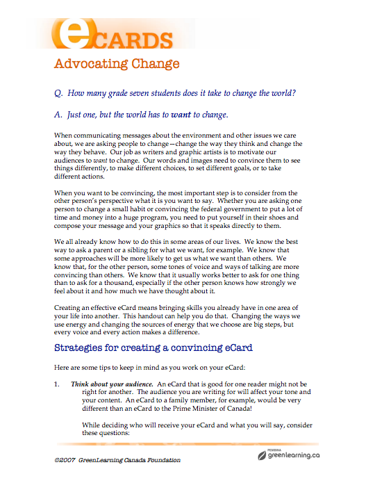 Advocating Change - Printable lesson plan  Meets Canadian
