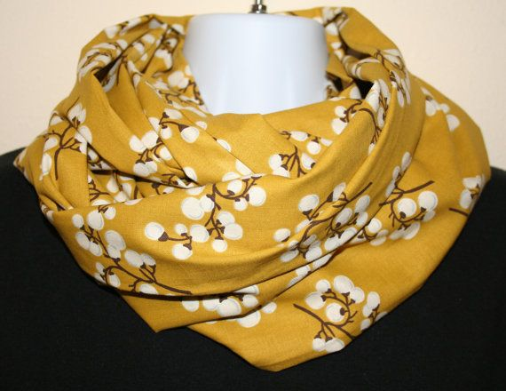"Infinity Scarf Cotton Blossom Golden Mustard Circle Loop Scarf 10.5"" x 72"" L - Floral Cotton-SewPriorAttireMitten"
