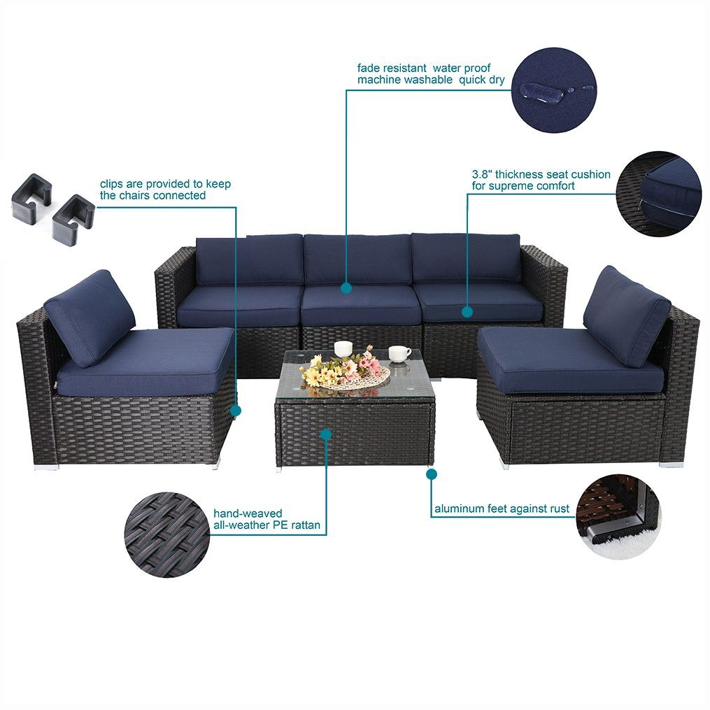 465e3c5e9c45 PHI VILLA 6Piece Outdoor Rattan Sectional Sofa Patio Wicker Furniture Set  Blue * Click image for more details.-It is an affiliate link to Amazon. # furniture
