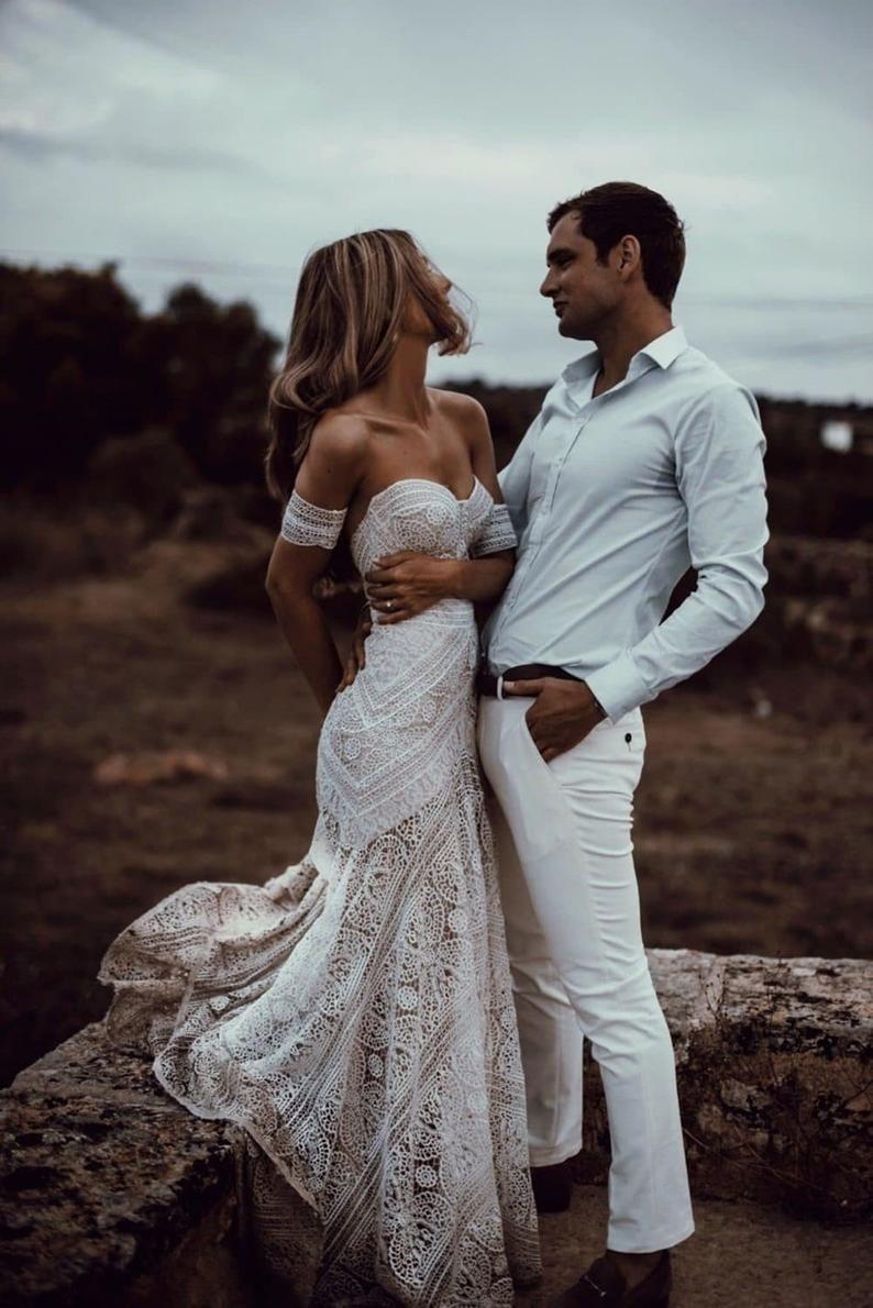 Boho Wedding Dress Lace Bridal Dress Bohemian Mermaid Wedding Dress Off The Shoulder Dress Lace Bridal Gown Bohemian Beach Wedding Dress Boho Wedding Dress Lace Bohemian Beach Wedding