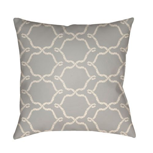 Litchfield Conway Gray and Ivory 26 x 26 In. Pillow with Poly Fill