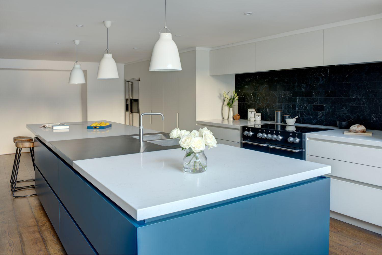 A Bold Blue White Linear Basement Kitchen Basement Kitchen