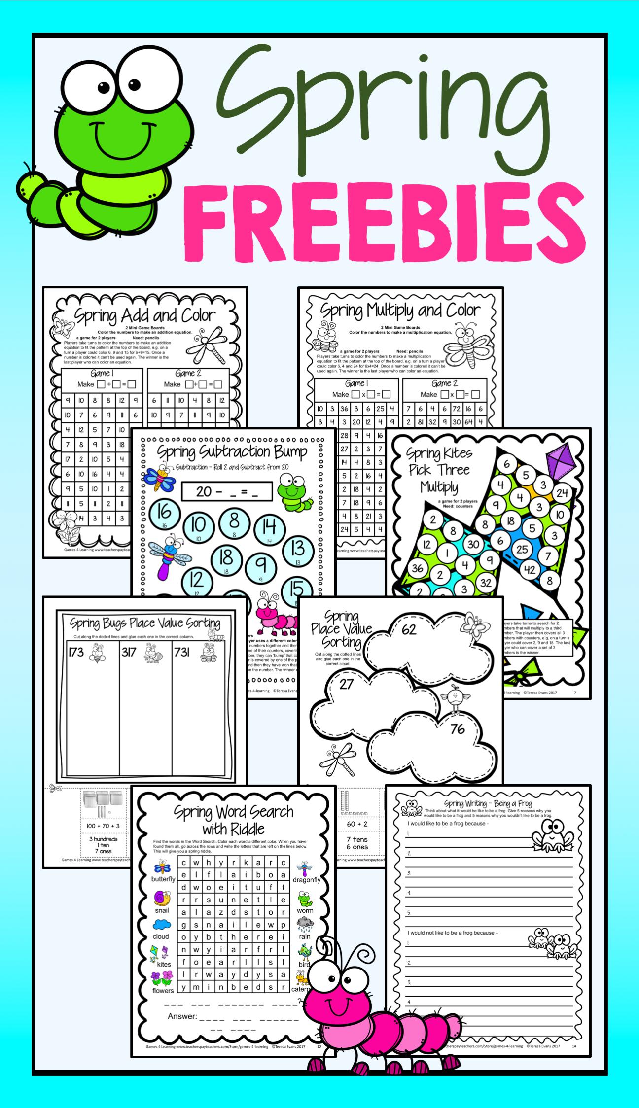 Free Spring Math Games Spring Writing Prompt Spring Word
