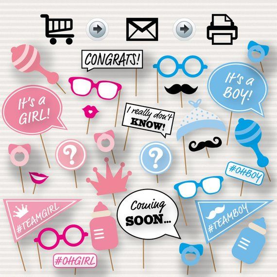 Gender Reveal Baby Shower Photo Booth Props Baby Shower Printable