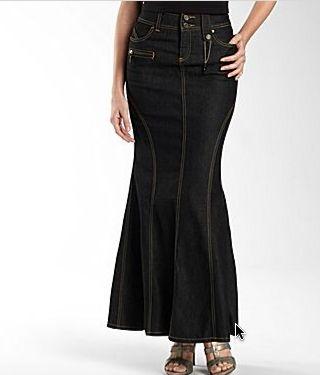 a987cd1e4 falda larga en jeans | moda y belleza en 2019 | Faldas de mezclilla ...