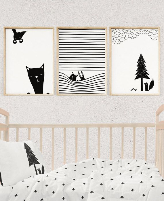 Black and white prints curious animals illustrations nursery wall art nursery decor
