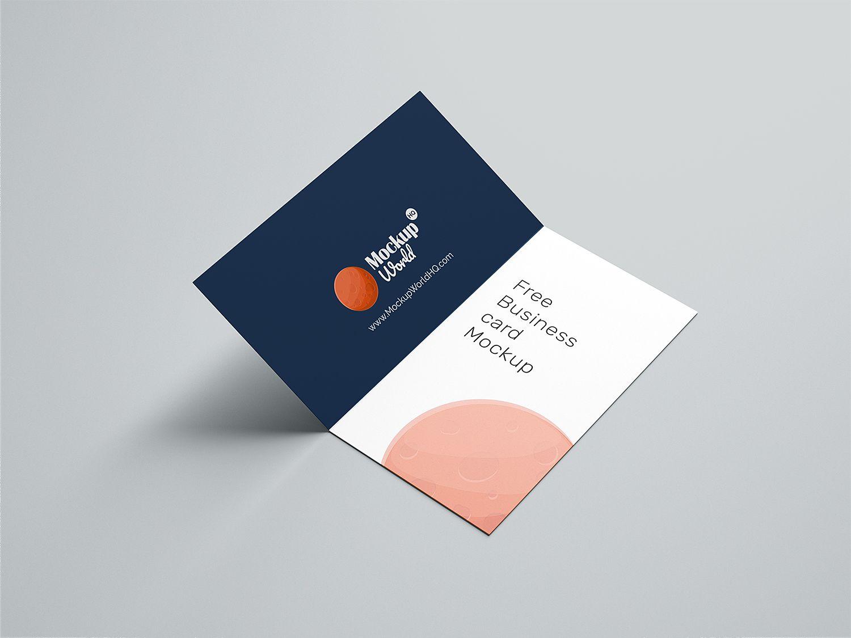 Folded Business Card Free Mockup Folded Business Cards Free Business Card Mockup Business Card Mock Up