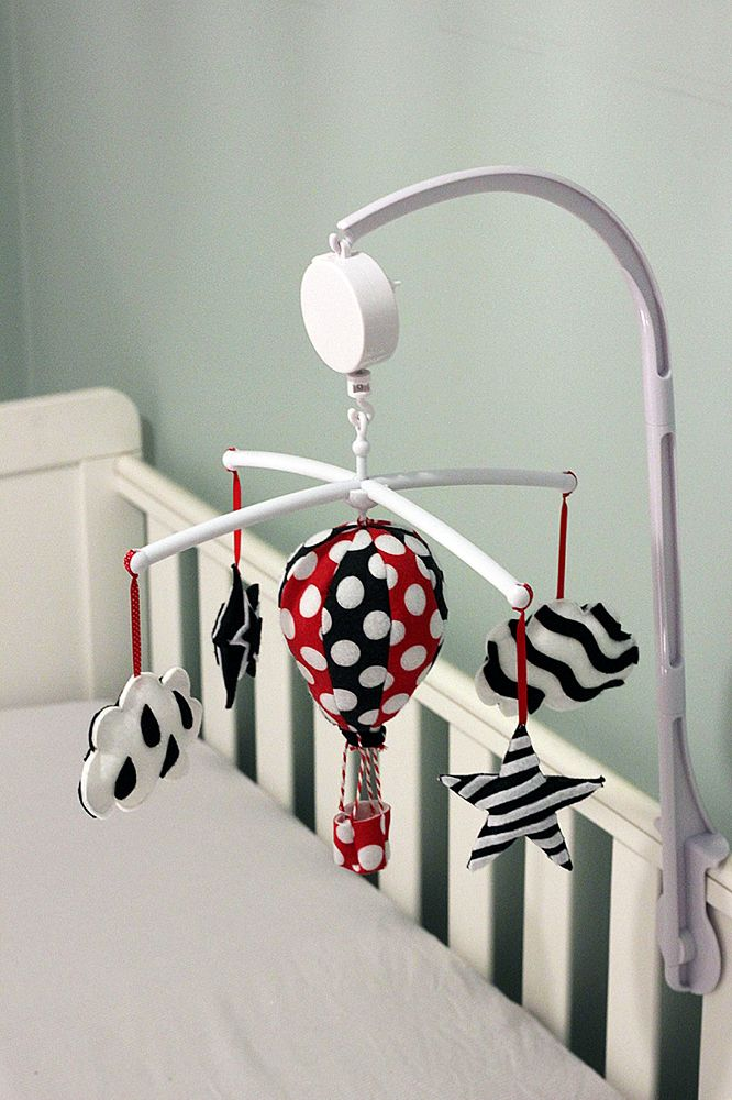 White Black Red High Contrast Baby Mobile Musical Baby Mobile Black And Red New Baby Products