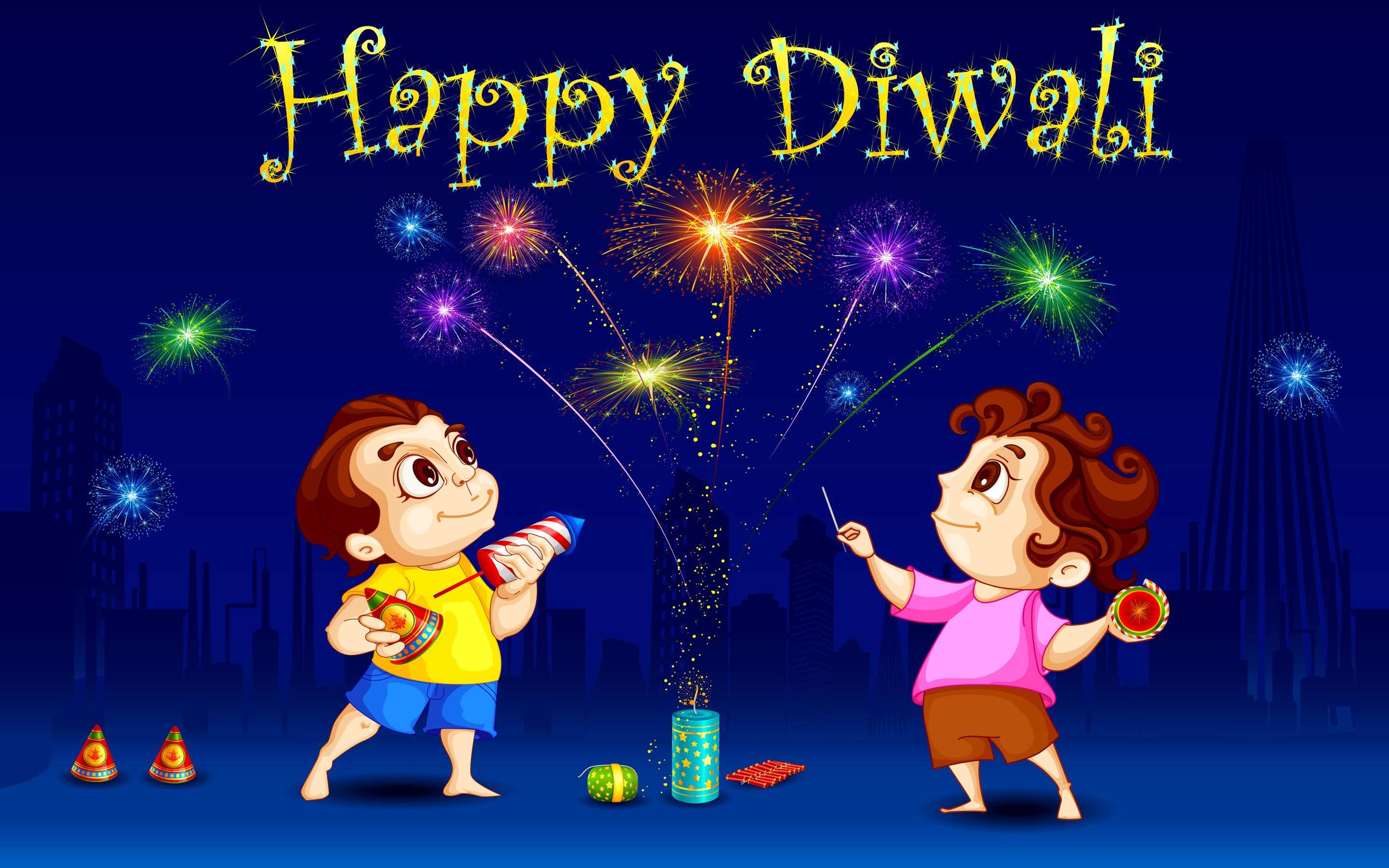Happy Diwali Children Playing With Crackers Happy Diwali Hd