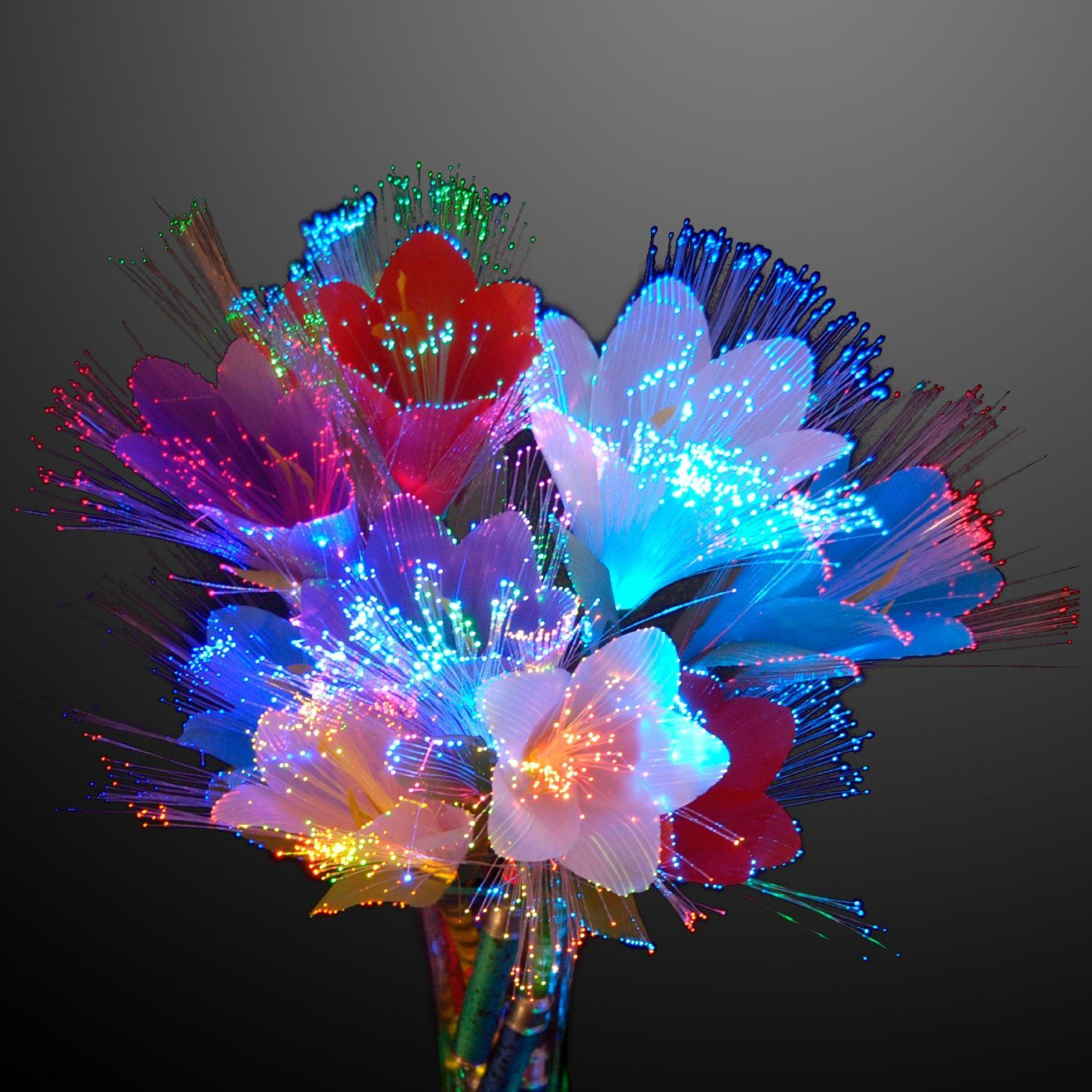 33 Beautiful Flower Beds Adding Bright Centerpieces To: Amazon.com : Rainbow LED Fiber-Optic Flower, Set Of 2