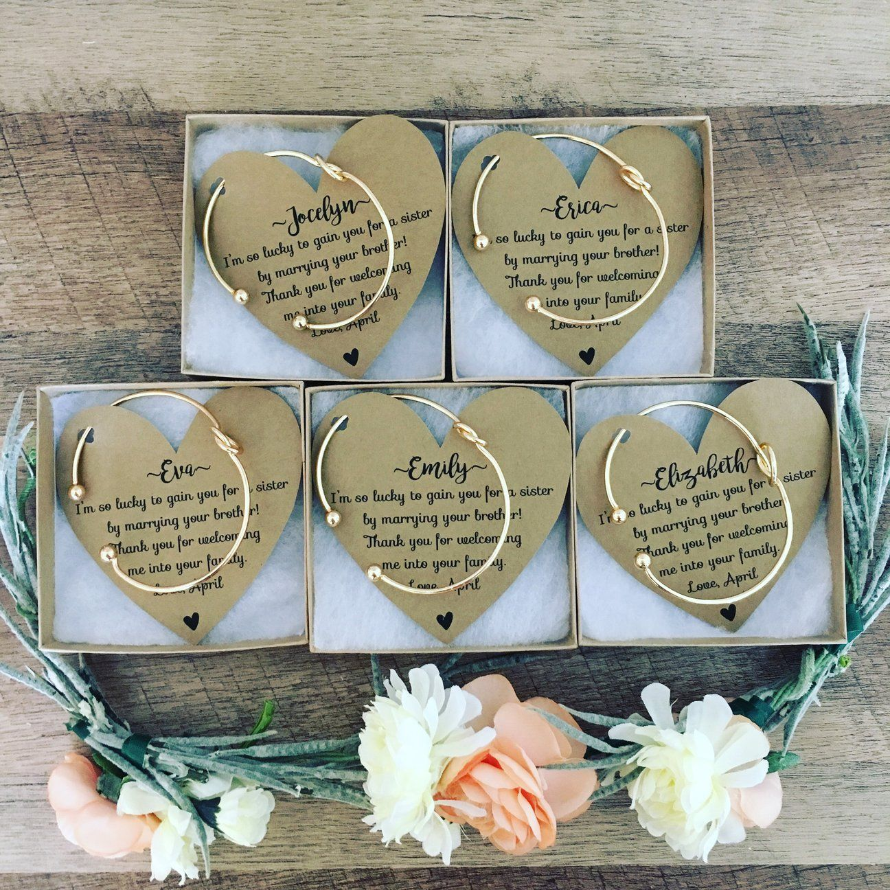 Expensive Wedding Gifts: Bridesmaid Knot Bangle & Heart Card In 2019