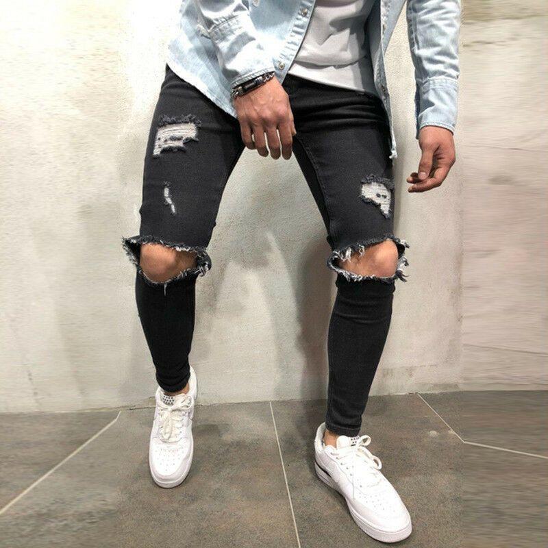 US Men Ripped Biker Skinny Jeans Frayed Destroyed Trousers Slim Fit Denim Pants