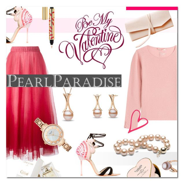 """Valentine's Day with Pearl Paradise!"" by maris-go-round ❤ liked on Polyvore featuring P.A.R.O.S.H., Sophia Webster, 81hours, Yves Saint Laurent, Charbonnel et Walker, Kate Spade, women's clothing, women, female and woman"