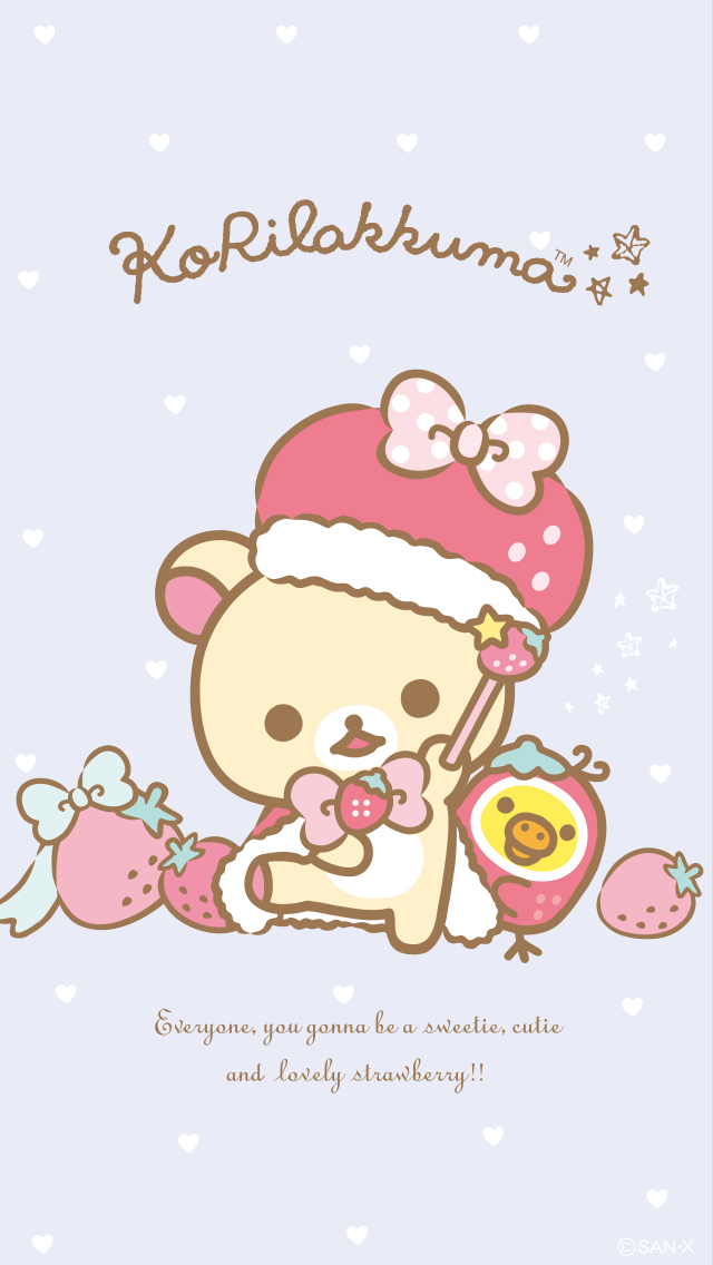 Korilakkuma Strawberry Bunny Series Phone Wallpaper 640x1136