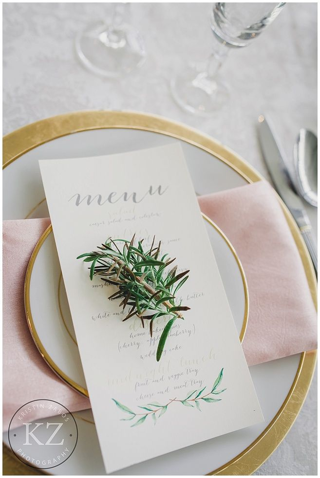 Beautiful menu cards - gold and blush wedding decor