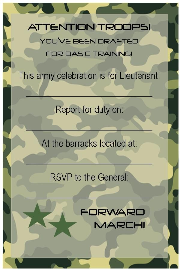 Free Printable Invitations: Army, Car Racing & Swim Party | Free ...