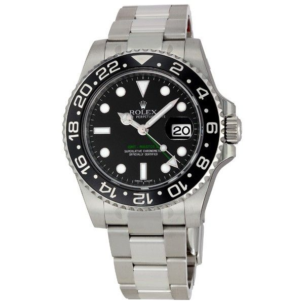 Rolex GMT Master II Black Index Dial Oyster Bracelet Steel Mens Watch 116710BKSO - Jomashop