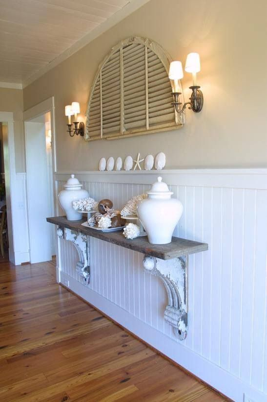 Love wainscoting for a beach house...