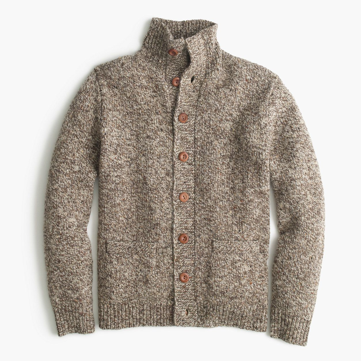 Donegal wool mockneck cardigan sweater products