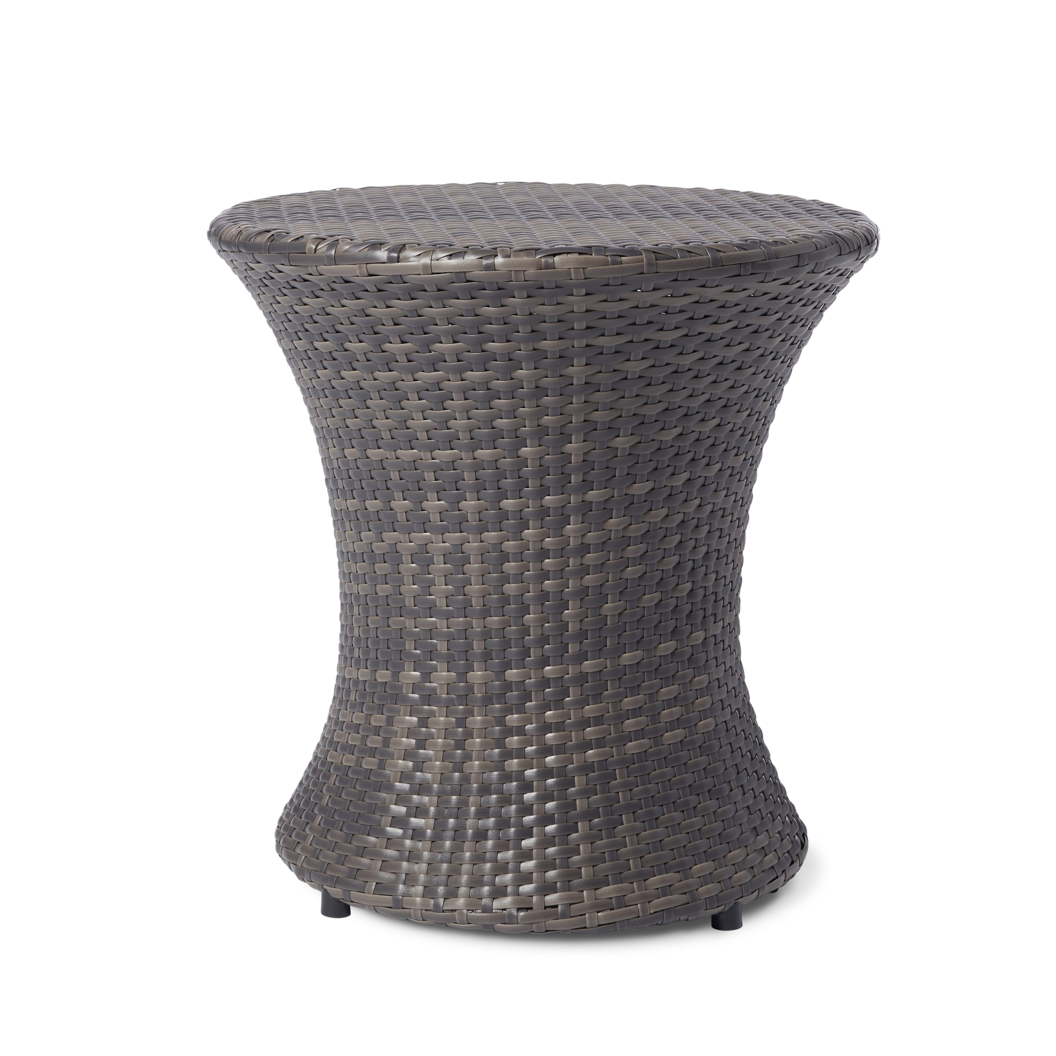 Adriana PE Wicker Outdoor Side Table By Christopher Knight Home (Brown  Wicker), Patio