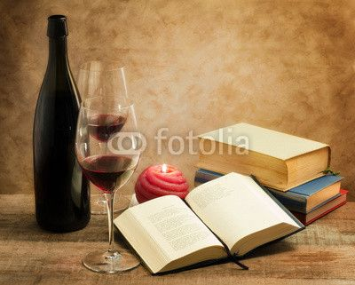 relaxing moments with novel nooks and pair of wine glass