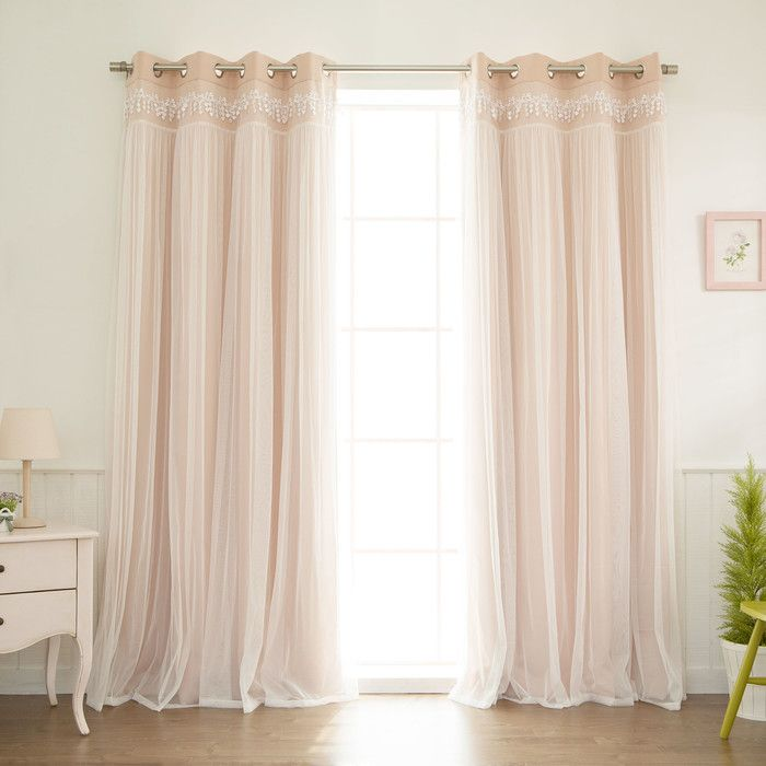 Layla Lace Overlay Thermal Blackout Energy Efficient Grommet Curtain ...
