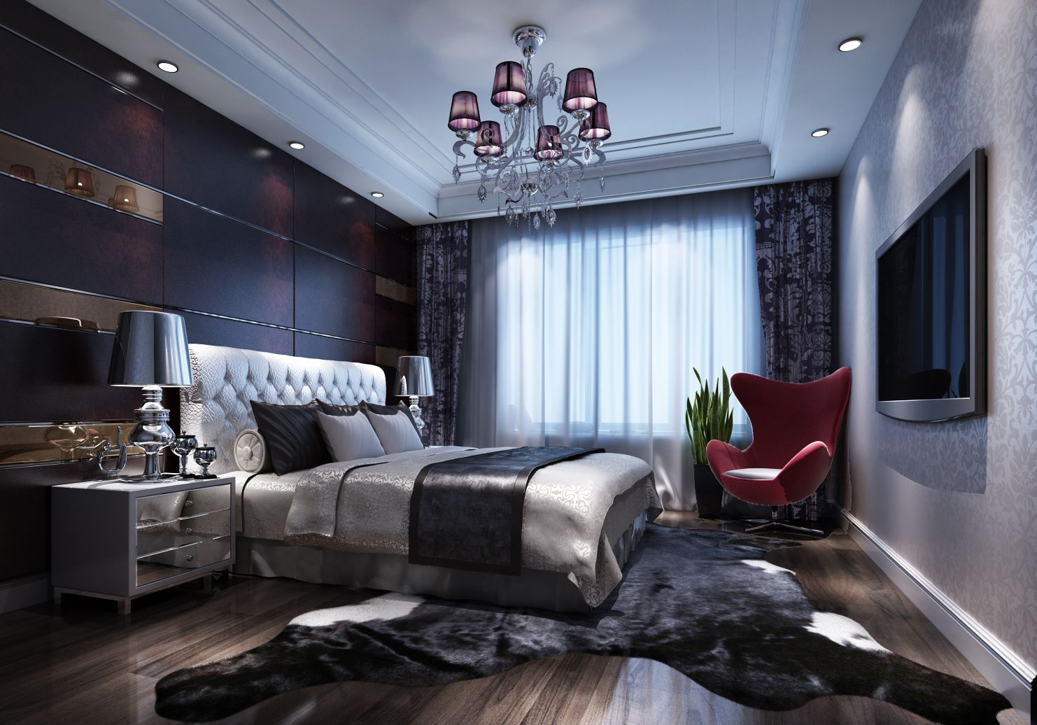 Best Chinese Luxury Bedroom Decoration Renderings Interior 400 x 300