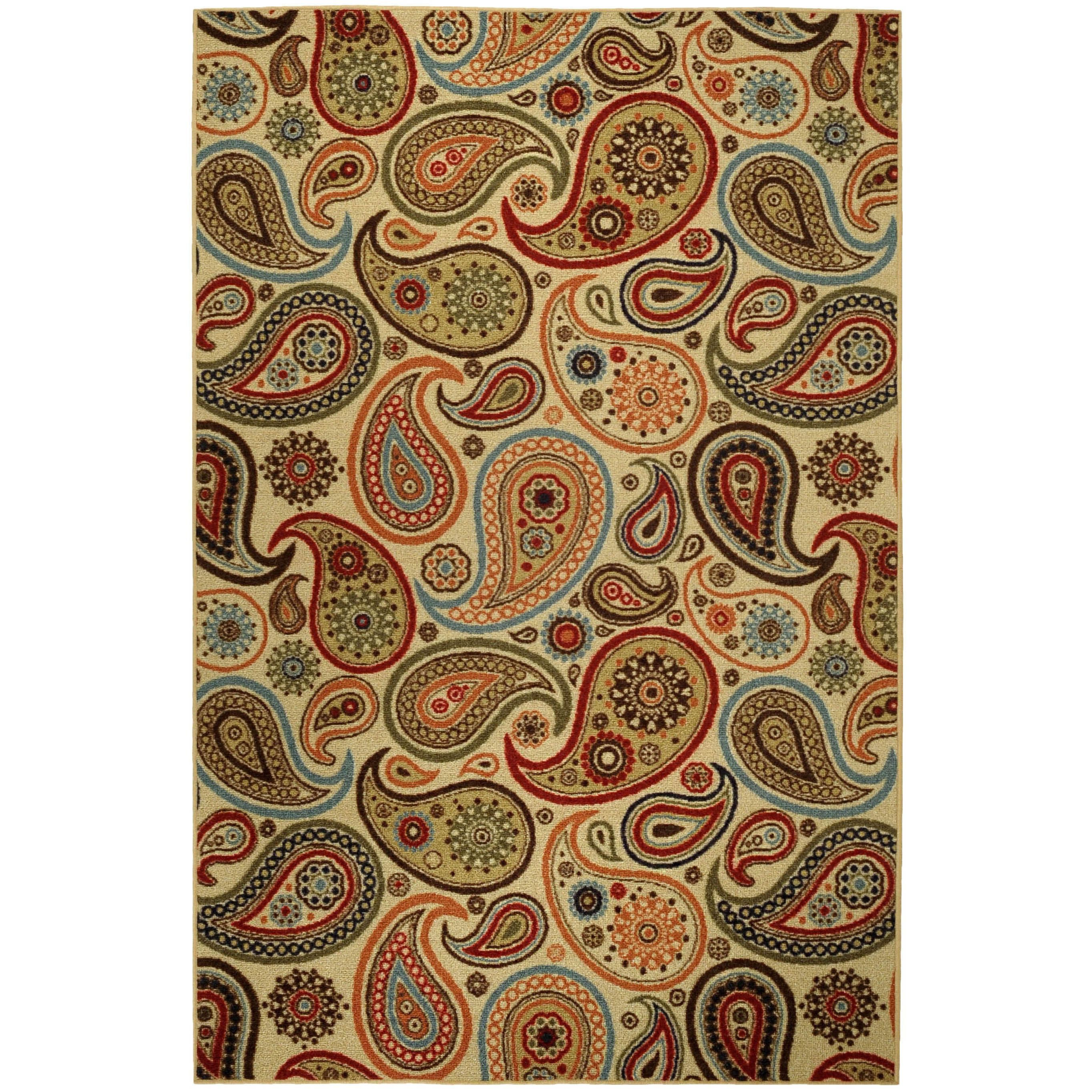 Rubber Back Ivory Paisley Floral Non Skid Area Rug 3 3 X 5