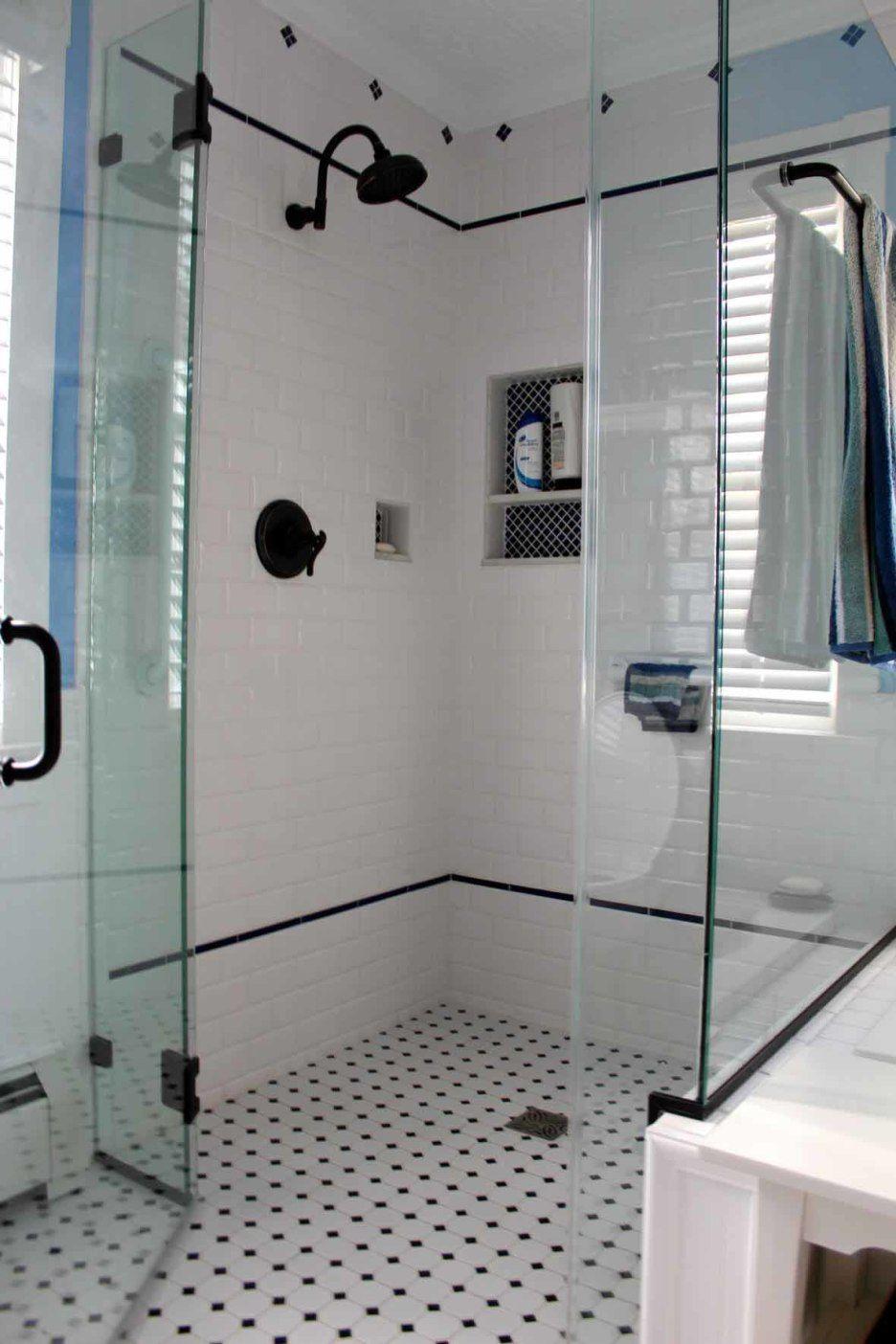 Bathroom White And Black Diamond Mosaic Tile Floor For Shower