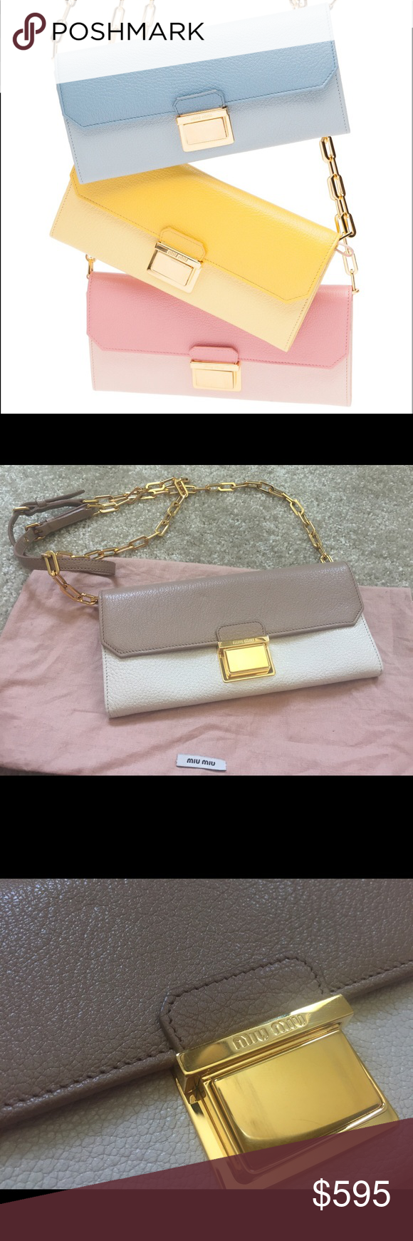 SP/SM Miu Miu WOC Wallet Chain Worn only once. This color is highly sought after and sold out. Poudre/nude bi-color two-tone chain wallet. Very versatile and beautiful color. Clean interior and exterior. Excellent condition from only one time use. Only faint stretches to front hardware. Comes with dustbag. Lots of space and card slots inside. 100% authentic. Miu Miu Bags Wallets