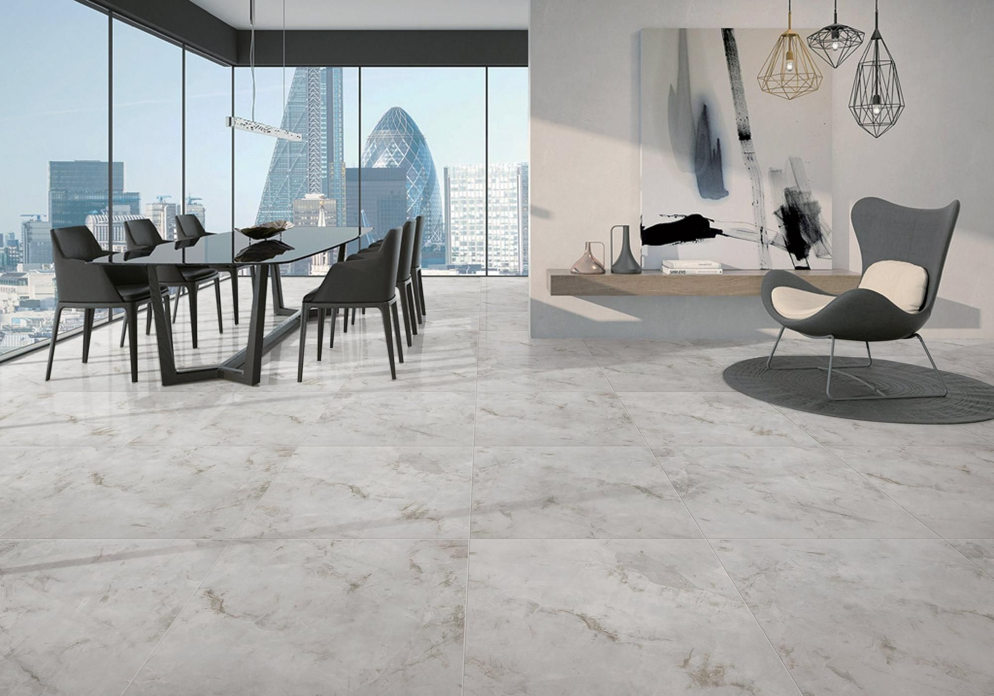 Crystal Gris Polished Porcelain Tile In
