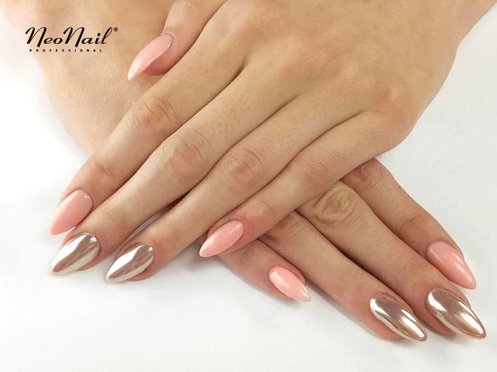 Chrome Effect Paznokcie Hybrydowe Neonail Gold Chrome Nails Chrome Nail Art Nails