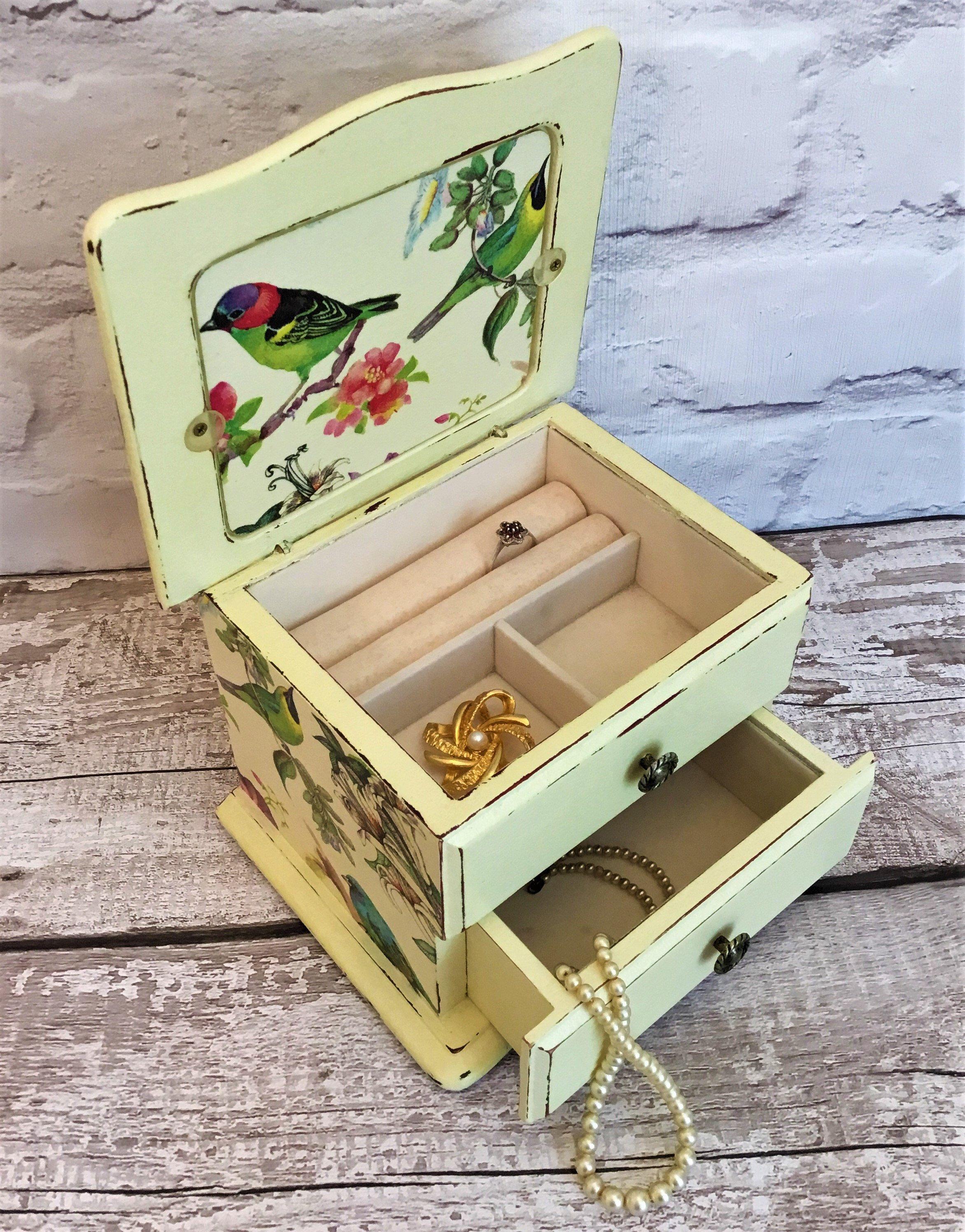 Best friend Gift Birthday Gift Valentines Day Blue Jewelry Box Handmade Jewelry Box Gift for Her Trinket Box