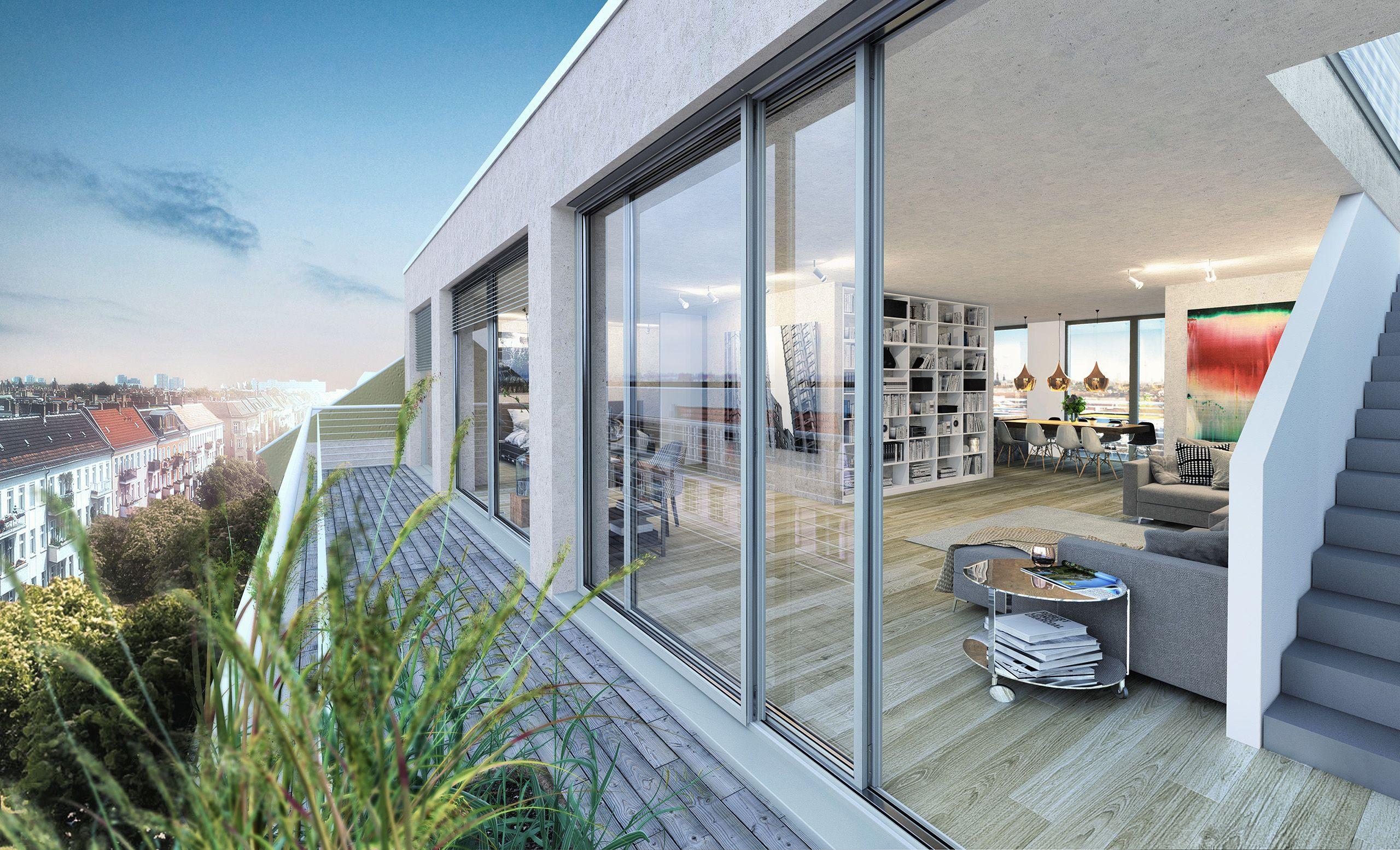 Architekturvisualisierung Berlin berlin loft rooftop render manufaktur architektur