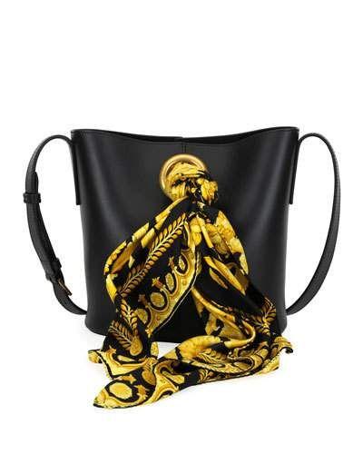 decc3a2995c6 Versace Calf Leather Bucket Bag with Barocco Scarf