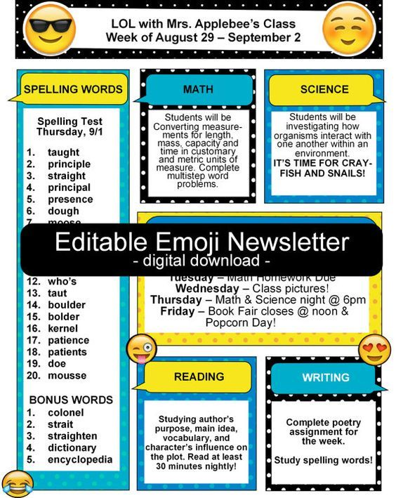 Make your own class newsletter with this fun emoji template! Easy to