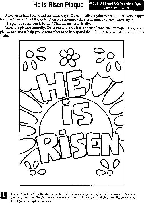 He Is Risen Coloring Pages Sunday School Coloring Pages Easter Sunday School Crafts Easter Coloring Pages