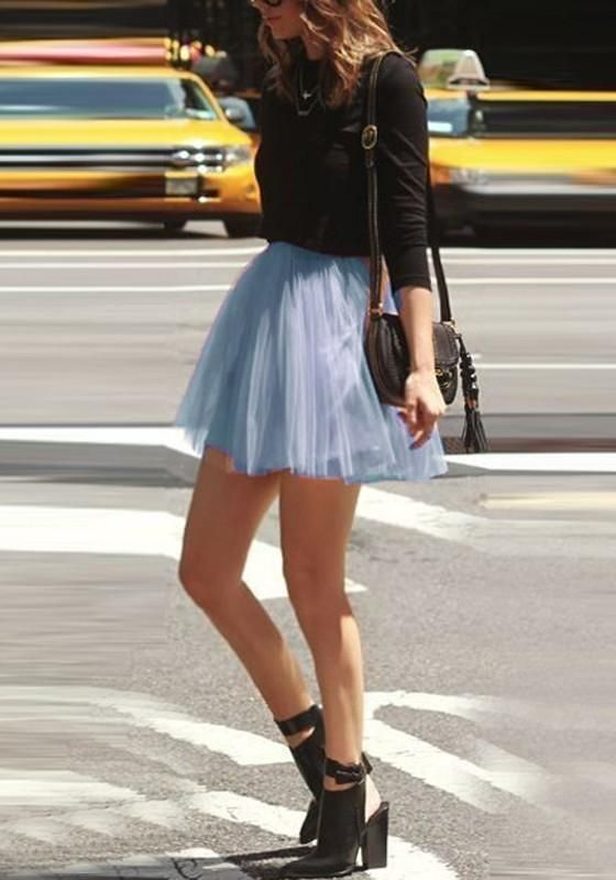 534cf96c78 Blue Pleated Grenadine Fluffy High Waisted Flowy Skater Tutu Cute Short  Skirt