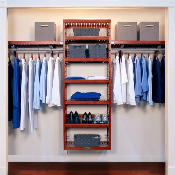 """48""""W 120""""W Deep Solid Wood Deluxe Closet System Closet"""