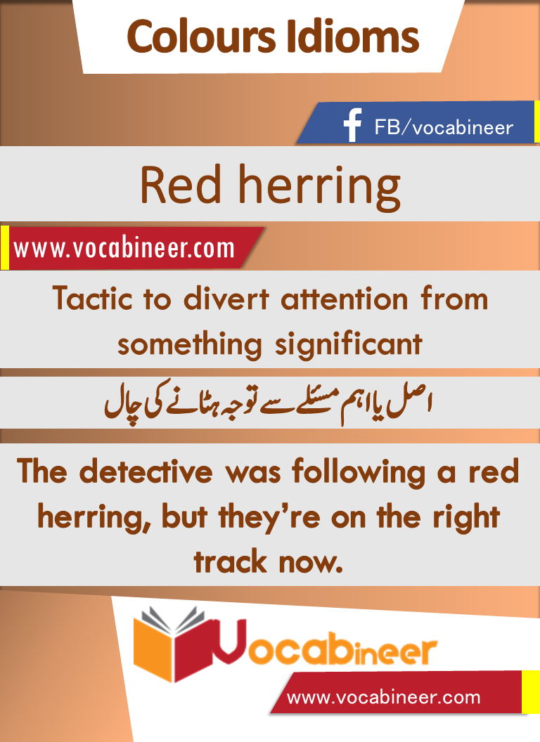 Red herring Idiom with Hindi and Urdu meanings and sentence download PDF    Idioms, Colors name in english, English vocabulary