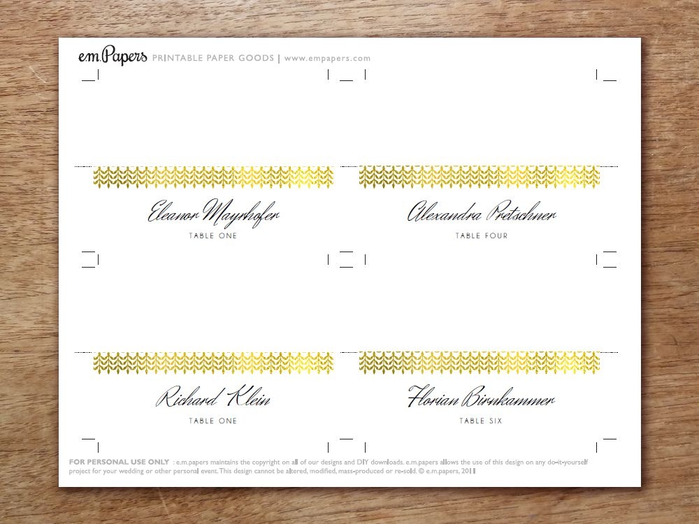 Place Setting Template Printable Place Card Template Printable