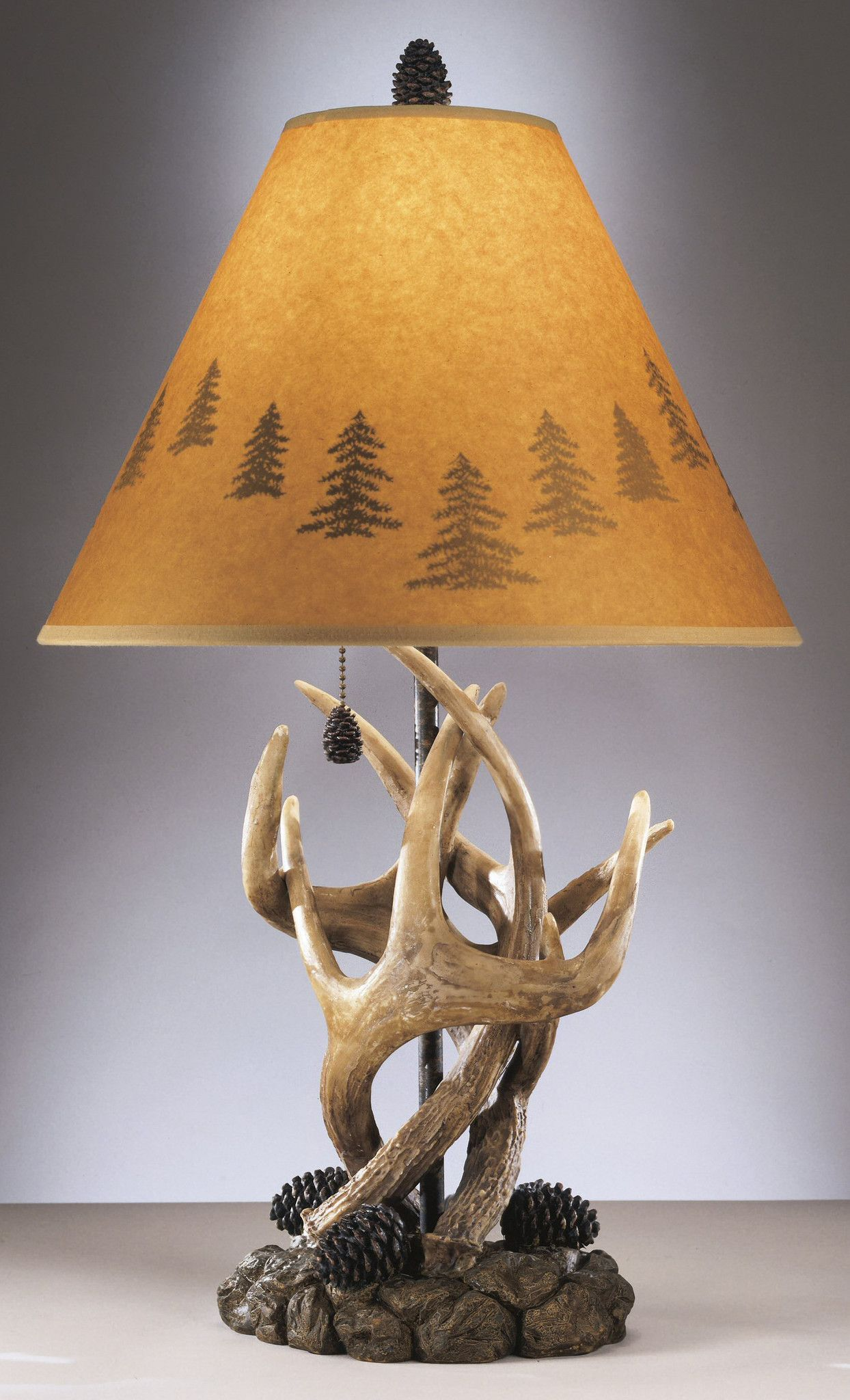 24 Inchh Derek Set Of 2 Of Rustic Antlers And Pine Cone Table Lamps